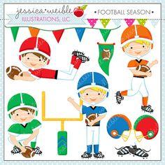 Football Season  Cute Digital Clipart  by JWIllustrations on Etsy, $5.00