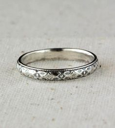 Delicate Sterling Silver Band | This detailed floral band would make a worthy companion a dinn... | Rings