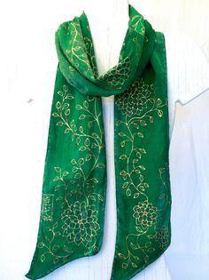 Green Silk Scarf. Hand Painted Silk Scarf. Jade Green Gold Kimono Floral Silk Sash. Spring Fashion. Silk Charmeuse. Made to order.