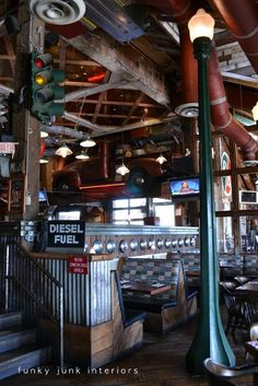 Junk filled pub decorating you won't believe! Mission Springs Brewing Company | Funky Junk Interiors - click the board theme for MORE junk shopping!