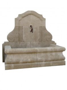 French Hand Carved Limestone Wall Fountain