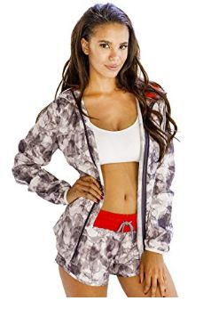 Alanic Funky White Hooded Jacket with Grey Abstract Prints Coats For Women, Jackets For Women, Clothes For Women, Running Shorts, Workout Shorts, Athletic Outfits, Patterned Shorts, Hooded Jacket