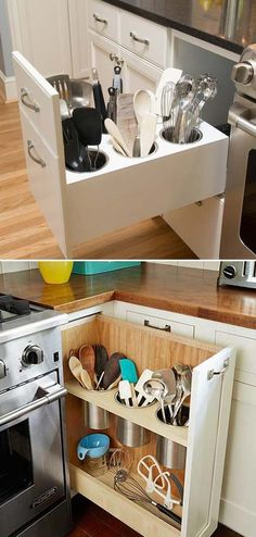 Build a pull-out utensil bin to avoid clutter on your countertop and be able to reach them more easily.