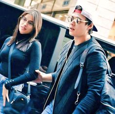 with ・・・ Happy LizQuen Day, my favorite couple! Stay strong, happy and in love! Ranz Kyle, Lisa Soberano, Enrique Gil, Leather Jacket, Photo And Video, Couples, Celebrities, Image, Stay Strong