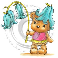 Teddy Bear Images, Blue Bell Flowers, Bear Cartoon, Tatty Teddy, Cold Porcelain, Digital Stamps, Cute Animals, Card Making, Scrapbook