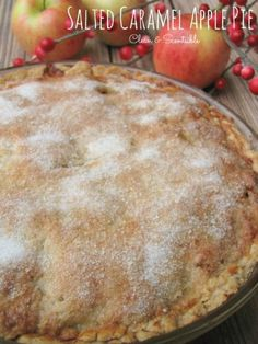 # 5 of 15 Best Pie Recipes For The Christmas and Holiday Season Salted Caramel Apple Pie by Because caramel and apples are perfect combination! Click the link in bio for the recipe! Apple Pie Recipes, Fall Recipes, Sweet Recipes, Holiday Recipes, Pumpkin Recipes, Carmel Apple Pie Recipe, Christmas Recipes, Christmas Pies, Christmas Foods