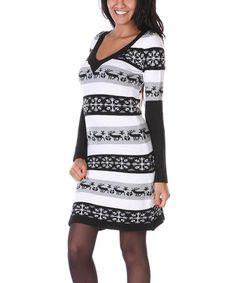 Love this Gray & Black Snowflake Sweater Dress on #zulily! #zulilyfinds