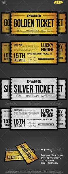 Golden Silver Ticket Corporate Invitation Print Templates PSD | Buy and Download: http://graphicriver.net/item/golden-silver-ticket-corporate-invitation-ii/2081066?WT.ac=category_thumb&WT.z_author=katzeline&ref=ksioks