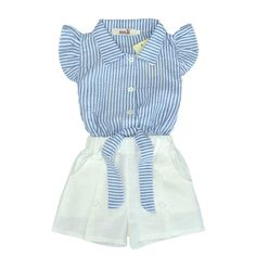 2017 new girls shorts set Blue navy style striped fly sleeve bowknot top+white pants set girl boutique clothing for 2-7Tconjunto #Affiliate