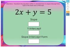 Standard Form to Slope-Intercept Form –Boom Cards– Works with GOOGLE CLASSROOM