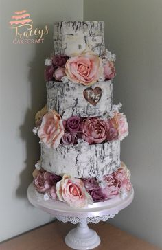 Silver birch effect wedding cake