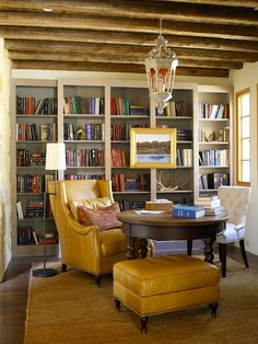 Southwestern Design Ideas: Study - 101 Inspiring Decorating Ideas from the Texas Idea House - Southern Living Architecture Unique, Architecture Desk, Southern Living Homes, Home Libraries, Built Ins, Living Area, Living Room, Game Room, Bookshelves