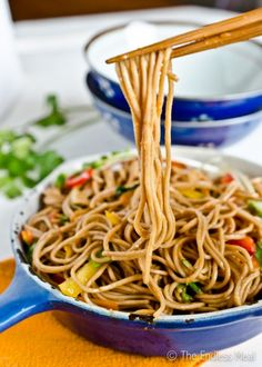 Stir Fried Soba Noodles with Ginger Soy Dressing. Ooh I love soba! I can do this. #healthy #food #recipe