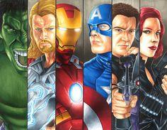 Avengers Assembled || Bruce Banner, Thor Odinson, Tony Stark, Steve Rogers, Clint Barton, Natasha Romanoff || 736px × 573px || #fanart