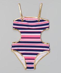 Look at this Jantzen Pink & Purple Stripe One-Piece - Girls on today! My Little Girl, My Baby Girl, Little Princess, Baby Girls, Toddler Fashion, Kids Fashion, Baby Girl Closet, Kids Swimwear, Swimsuits