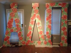 The University of Central Oklahoma- Theta Xi chapter! Hawaiian letters for our ADParadise themed Bid Day #boomboom #letters #sorority #adpi