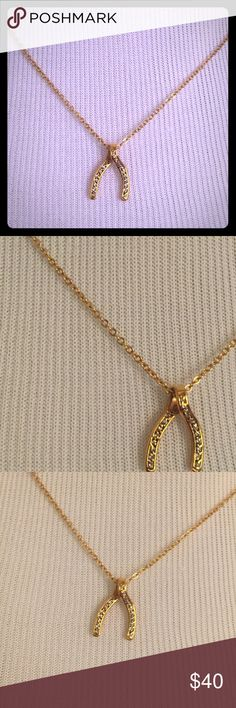 Gold Wishbone Charm Necklace. Gold Wishbone Charm Necklace. Jewelry Necklaces