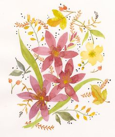 Three mauve lilies with buds are tossed on an open natural white ground of flower buds, small fern, Hawthorn leaves and berries with unifying