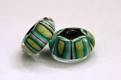 Pair of Striped Glass Beads in Emerald Green and by blancheandguy, $15.00