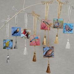 $15 each. Mini canvas ornaments hand crafted by myself from reproductions of my Bird Series paintings.
