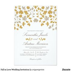 "Fall in Love Wedding Invitation 5"" X 7"" Invitation Card"