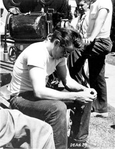 James Dean on set of Rebel Without A Cause