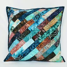 Very pretty Batik Pillow Cover, quilted cushion idea