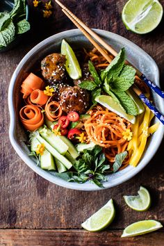 vietnamese meatball and sweet potato noodle bowl. The post Vietnamese Meatball and Sweet Potato Noodle Bowl. appeared first on Half Baked Harvest. Asian Recipes, Healthy Recipes, Ethnic Recipes, Dinner Bowls, Sweet Potato Noodles, Half Baked Harvest, Noodle Bowls, Mets, Healthy Eating