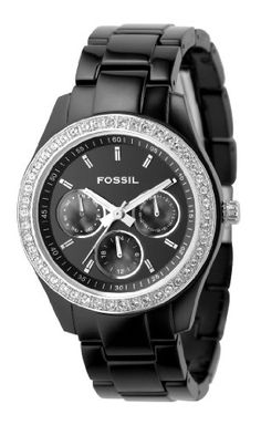 Fossil Women's ES2157 Black Resin Bracelet Black Glitz Analog Dial Multifunction Watch Black Friday Deal