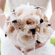 gold black great gatsby wedding 1920 brooch bouquet fabric flower handmade feather broach | Mlle Artsy