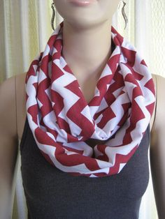 Crimson Red Chevron Infinity Loop Scarf  by ChevronScarf