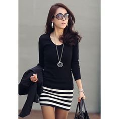 Ladylike Scoop Neck Stripes Skinny Long Sleeves Elegant Cotton Blend Women's Dress