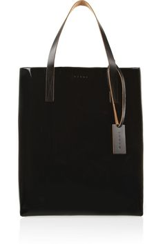 Marni|Two-tone faux patent-leather tote