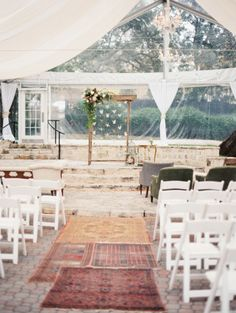 Allan House — Stefani + Seth  clear tent draping and twinkle lights Loot Vintage Rentals  Taylor Lord Photography