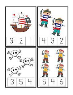 count printables for kıds Preschool Pirate Theme, Pirate Activities, Counting Activities, Preschool Printables, Preschool Classroom, Kindergarten Activities, Free Preschool, Preschool Themes, Pirate Boy