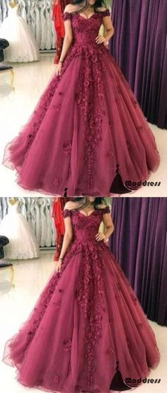 3D Floral Applique Long Prom Dress, Off the Shoulder A-Line Evening Dress 0135 by RosyProm, $184.99 USD