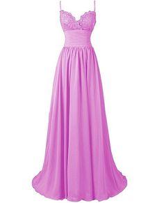 Sleeveless Lace Bodice A-line Long Chiffon Dress - Bridesmaid Dress, Evening Dress