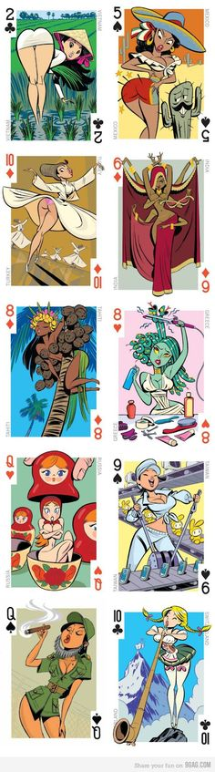 Intercontinental Cuties deck Would like to use them while playing poker with some old men. Comics Anime, Ligne Claire, Sexy Cartoons, Pin Up Art, Cool Cards, Cartoon Art, Best Funny Pictures, Illustrations Posters, Art Girl