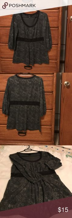 Style & Co. black top with paisley silver design Super soft classy knit top. Flattering at waist. Three quarter sleeve. Glimmer pattern. Very pretty. Style & Co Tops Blouses