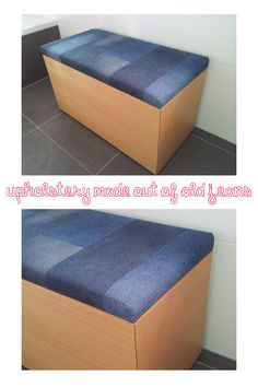 Upcycle your old jeans - use them as upholstery fabric for benches etc.