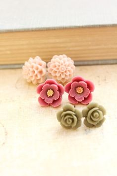 Flower Stud Earrings Spring Jewelry Surgical by apocketofposies repinned by www.treenabean.etsy.com