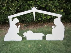 Christmas Outdoor Nativity Display- Yard Nativity Set Holy Family Nativity Scene... another good option for a yard nativity. This one doesn't need to be re-sealed each year like the wooden one.
