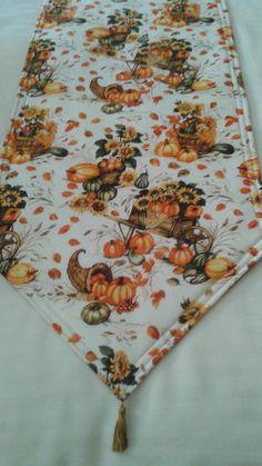 Fall/Thanksgiving Table Runner Handmade 72x14 Padded and Reversible by freemansalesgirl on Etsy