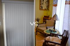 DIY Vertical Blind Makeover : unclip the long plastic pieces, clip in curtain of choice and cover ugly plastic top part with another piece of fabric. nice.