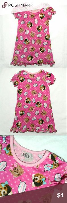 Puppy kitty polka-dot 3t nightgown * Offers are awesome :)  * Bundles make it better!  In good used condition- short-sleeve nightgown tee. Ruffle layered bottom trim. Elasticized cap sleeves. Dark pink base with pastel pink polka pattern, beagle puppy and kitten print. - Brand: Wal-Mart puchase - Size 3T (runs small, best fits 2T) - Fabric: 100% polyester  #puppiesandkittens #3tnightgown Pajamas Nightgowns