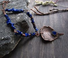 Copper  Necklace Earthy Necklace Blue Statement by MaryBulanova