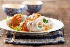 Rollitos de merluza y espinaca con salsa de ají - Maru Botana
