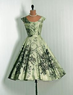 1950's Vintage Sage-Green Sequin Rose-Garden Floral Rockabilly Sun Dress