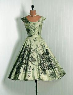 Sage green floral dress, 1950's.