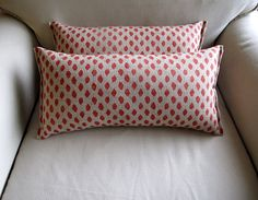 Coral Ikat accent/lumbar pillows pair 9x16 by yiayias on Etsy, $40.00